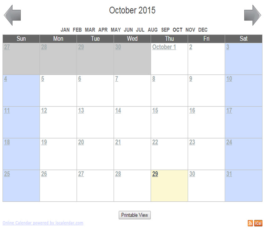 Sample Calendar | Free Online Calendar For Webmaster School Family Churches