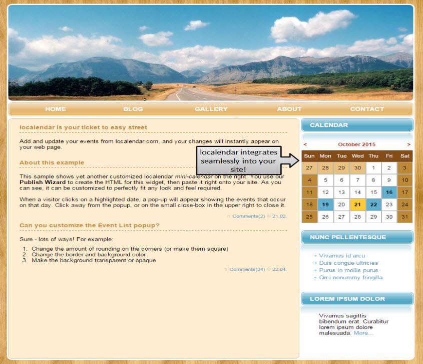 sample calendar of events